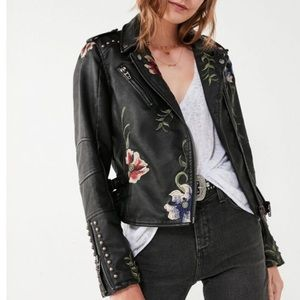 BLANKNYC Floral Embroidered Moto Leather Jacket
